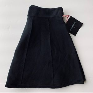 Black pleated sweater mini skirt Small